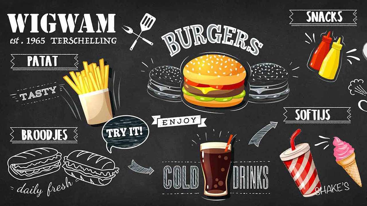 De menukaart van de snackbar de WigWam